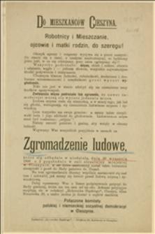 Odezwa wzywająca robotników na wiec protestacyjny przeciw drożyznie w dniu 30.09.1906 r. w Cieszynie