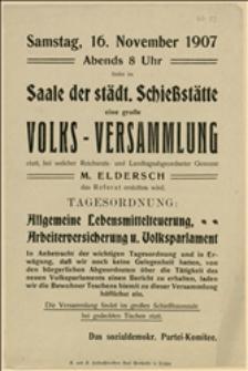 Ulotka wzywająca na wiec w dniu 16.11.1907 r. w Cieszynie z referatem M. Elderscha