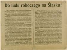 Odezwa wzywająca do walki o powszechne prawo wyborcze i krytykująca ustrój Sejmu Śląskiego w Opawie