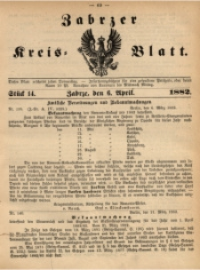 Zabrzer Kreis-Blatt, 1882, St. 14