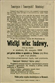 Wezwanie na wielki wiec ludowy do Przywoza w dniu 23 sierpnia 1908 roku