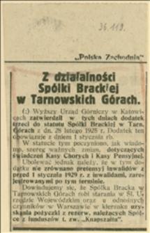 Artykuł o zatwierdzeniu przez Wyższy Urząd Górniczy w Katowicach trzeciego dodatku do statutu Spółki Brackiej w Tarnowskich Górach z dnia 28.02.1925 r.