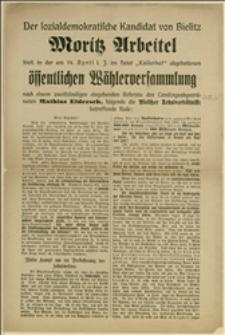 Der sozialdemokratische Kandidat von Bielitz Moritz Arbeitel ...