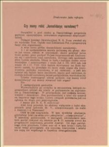 Odezwa dotycząca utworzenia organizacji międzypartyjnej w sytuacji politycznej 1918 r. - 10.02.1918 r.