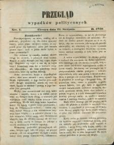 Przegląd Wypadków Politycznych, 1849, Nry 1-4, 6