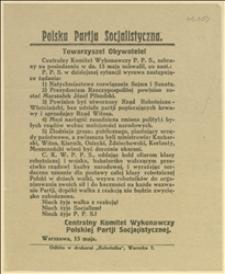 Ulotka z uchwałami CKW PPS w Warszawie z dnia 15.05.1926 r.