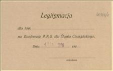 Formularz legitymacji dla delegata na Konferencję PPS dla Śląska Cieszyńskiego