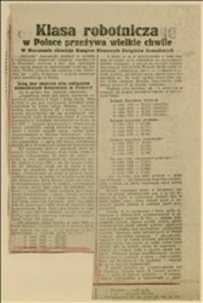 """Wycinek z """"Gazety Robotniczej"""" o obradach Kongresu Klasowych Związków Zawodowych w Warszawie"""
