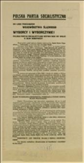 Odezwa Katowickiego i Cieszyńskiego Okręgowych Komitetów PPS przed wyborami do Sejmu Śląskiego w dniu 11.05.1930 r.