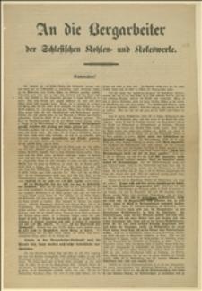 Odezwa podpisana przez F. Tholla dotycząca ustosunkowania się dyrektora Rössnera do górników powracających do pracy po strajku w Boguszowie i wzywająca do wstępowania do konsumu robotniczego