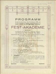 Program uroczystej akademii w związku z 60-leciem Chóru Grupy Miejscowej Związku Drukarzy w Bielsku w dniu 19.08.1928 r.