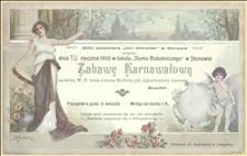 """Informacja o zabawie karnawałowej urządzanej przez kółko amatorskie """"Unii Górników"""" w Stonawie w dniu 16.01.1910 r. w Stonawie"""