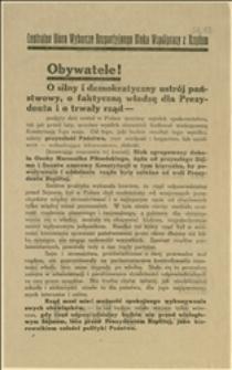 Odezwa przedwyborcza wydana przez Centralne Biuro Wyborcze Bezpartyjnego Bloku Współpracy z Rządem