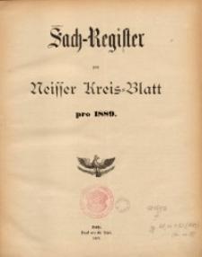 Sach-Register zum Neisser Kreis-Blatt pro 1889