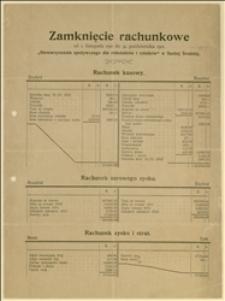 Stowarzyszenie spożywcze dla robotników i rolników w Suchej Średniej - zamknięcie rachunkowe od 1 listopada 1911 r. do 31 października 1912 r.