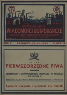 Górnośląskie Wiadomości Gospodarcze, 1933, R. 10, nr 14