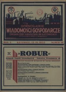 Górnośląskie Wiadomości Gospodarcze, 1933, R. 10, nr 19