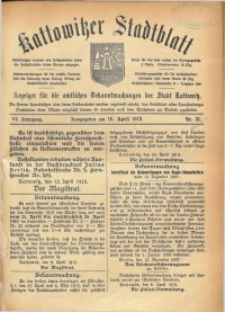 Kattowitzer Stadtblatt, 1913, Jg. 6, nr31