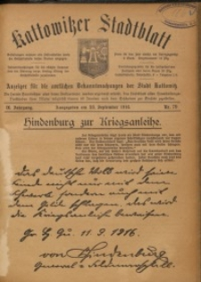 Kattowitzer Stadtblatt, 1916, Jg. 9, nr79