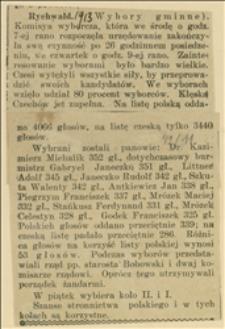Wyniki wyborów do III koła gminy Rychwałd w marcu 1913 r.