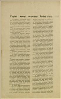 """Odezwa wydana przez """"Komitet Wyborców Chrześcijańsko-Ludowych"""" skierowana przeciwko kandydatom socjalistycznym na posłów, zwłaszcza przeciw Kurowskiemu w Chrzanowskiem"""