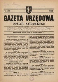 Gazeta Urzędowa Powiatu Katowickiego, 1926, nr30