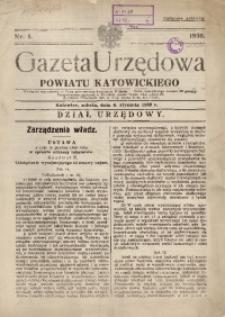 Gazeta Urzędowa Powiatu Katowickiego, 1936, nr1