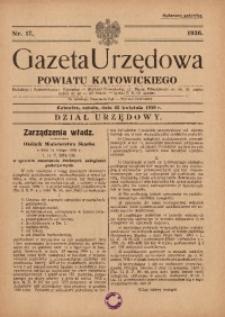 Gazeta Urzędowa Powiatu Katowickiego, 1936, nr17