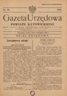 Gazeta Urzędowa Powiatu Katowickiego, 1936, nr45