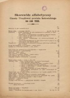 Skorowidz alfabetyczny Gazety Urzędowej powiatu katowickiego na rok 1936