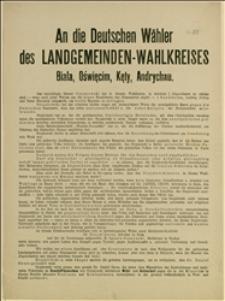"""Odezwa wydana przez """"Der deutsche Grundbesitzer - und Arbeiter - Wahlausschuss"""" wzywająca do głosowania na D. Grossa i I. Daszyńskiego"""