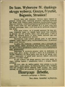 Odezwa wydana przez Soc. Dem. Komitet Wyborczy wzywająca do głosowania w wyborach ściślejszych w dniu 23.05.1907 r. na Maurycego Arbeitla, sekretarza partyjnego w Bielsku