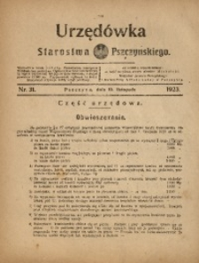 Urzędówka Starostwa Pszczyńskiego, 1923, nr31