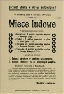 Odezwa wydana przez Komitet rewirowy o wiecach ludowych w Okręgu Krakowskim w dniu 04.08.1907 r.