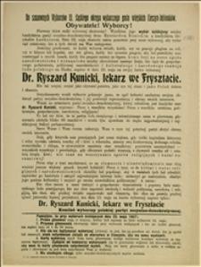 Odezwa wzywająca do głosowania w dniu 23.05.1907 r. w wyborach ściślejszych na Ryszarda Kunickiego