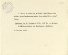 Zawiadomienia o posiedzeniach likwidacyjnych Śląskiego Wydziału Krajowego w dniach 10.12.1918 r. i 08.01.1919 r.