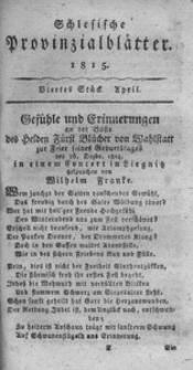 Schlesische Provinzialblätter, 1815, 61. Bd., 4. St.: April