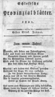 Schlesische Provinzialblätter, 1821, 73. Bd., 1. St.: Januar