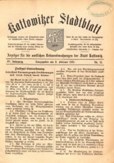 Kattowitzer Stadtblatt, 1911, Jg. 4, nr11