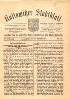 Kattowitzer Stadtblatt, 1911, Jg. 4, nr15
