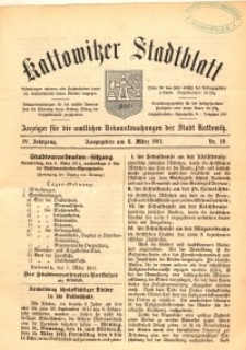 Kattowitzer Stadtblatt, 1911, Jg. 4, nr19