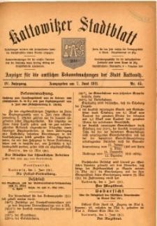 Kattowitzer Stadtblatt, 1911, Jg. 4, nr45