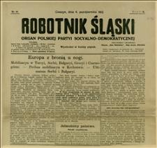 """""""Robotnik Śląski"""", R. 9, Nr 40 z 04.10.1912 r. ze skonfiskowanym fragmentem wiersza """"Rekrut"""""""