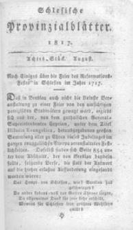 Schlesische Provinzialblätter, 1817, 66. Bd., 8. St.: August