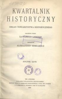 Kwartalnik Historyczny. R 27 (1913)