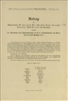 Antrag der Abgeordneten Dr. Jerzabek, Dr. Baechlé, Kuhn, Rienössl, Kemetter, Alois Brandl und Genossen, betreffend die Zuwendung einer Teuerungsanlage an die k. k. Staatsbeamten und Diener für das zweite Halbjahr 1912 - Wien, 25.10.1912 r.