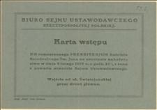 Karta wstępu na uroczyste nabożeństwo w katedrze św. Jana w Warszawie w dniu 09.02.1919 r. z okazji otwarcia Sejmu Ustawodawczego