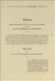 Antrag der Abgeordneten Oskar Teufel, Ferd. Seidl und Genossen, betreffend den Schutz der Unabhängigkeit der periodischen Presse - Wien