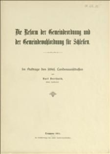 Die Reform der Gemeindeordnung und Gemeindewahlordnung für Schlesien