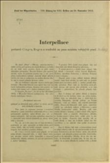 2741/I Interpellace poslanců Cingra, Regera a soudruhů na pana ministra veřejných prací - Ve Vídni 12. listopadu 1912